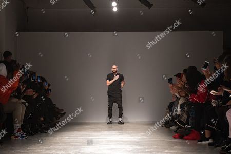 German designer Boris Bidjan Saberi appears on the catwalk after presenting his Fall/Winter 2019/2020 Men's collection during the Paris Fashion Week, in Paris, France, 17 January 2019. The presentation of the Fall/Winter 2019/20 menswear collections runs from 15 to 20 January 2019.