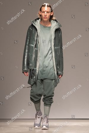 Stock Picture of A model presents a creation from the Fall/Winter 2019/2020 Men's collection by German designer Boris Bidjan Saberi during the Paris Fashion Week, in Paris, France, 17 January 2019. The presentation of the Fall/Winter 2019/20 menswear collections runs from 15 to 20 January 2019.