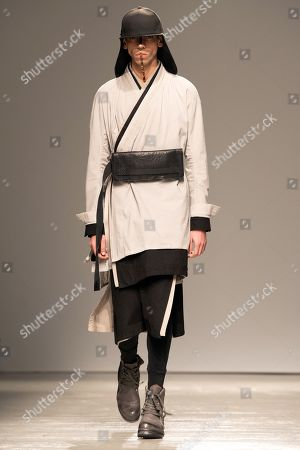 A model presents a creation from the Fall/Winter 2019/2020 Men's collection by German designer Boris Bidjan Saberi during the Paris Fashion Week, in Paris, France, 17 January 2019. The presentation of the Fall/Winter 2019/20 menswear collections runs from 15 to 20 January 2019.