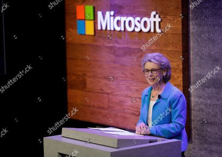 Former Washington Gov. Christine Gregoire, CEO of the Challenge Seattle organization, speaks, during a news conference in Bellevue, Wash., to announce a $500 million pledge by Microsoft Corp. to develop affordable housing for low- and middle-income workers in response to the Seattle region's widening affordability gap and to also to address homelessness