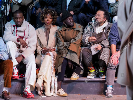 Stock Image of Skepta, Naomi Campbell, Jenke-Ahmed Tailly and Takashi Murakami in the front row