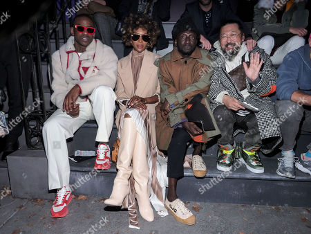 Skepta, Naomi Campbell, Jenke-Ahmed Tailly and Takashi Murakami in the front row