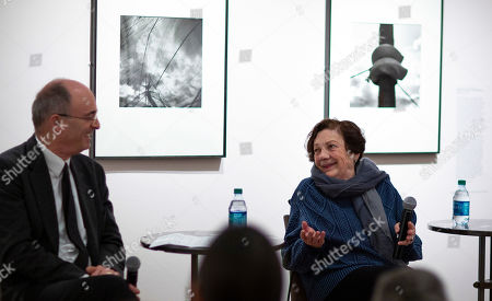 Stock Photo of Mexican photographer Graciela Iturbide (R) discusses her photographs with Museum of Fine Arts Boston Ann and Graham Gund Director, Matthew Teitelbaum (L) during a press preview of her exhibit 'Graciela Iturbide's Mexico' at the Museum of Fine Arts in Boston, Massachusetts, USA, 17 January 2019. Nearly 140 photographs by Iturbide portraying her native country of Mexico will be on exhibit starting 19 January through 12 May 2019.