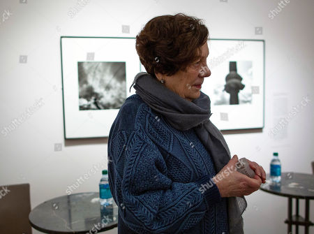 Stock Image of Mexican photographer Graciela Iturbide talks with a member of the media following a short discussion of her exhibit, 'Graciela Iturbide's Mexico' at the Museum of Fine Arts in Boston, Massachusetts, USA, 17 January 2019. Nearly 140 photographs by Iturbide portraying her native country of Mexico will be on exhibit starting 19 January through 12 May 2019.