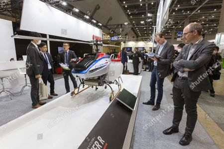 A Yamaha helicopter FAZER R on display during the 3rd Robot Development and Application Expo (RoboDEX) in Tokyo Big Sight, Tokyo, Japan. The exhibition introduces the latest products and technologies from robot companies during the three-day event until January 18.