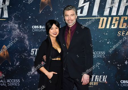 "Darah Trang, Anson Mount. Actor Anson Mount, right, and wife Darah Trang attend the ""Star Trek: Discovery"" season two premiere at the Conrad New York, in New York"