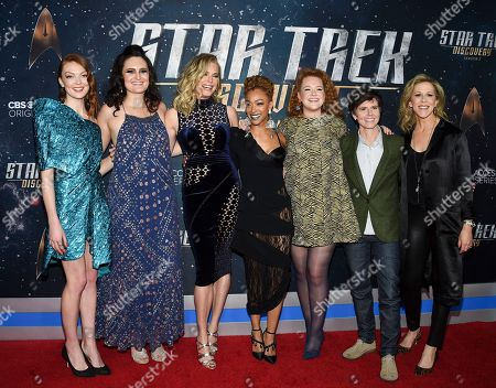 """Emily Coutts, Mary Chieffo, Rebecca Romijn, Sonequa Martin-Green, Mary Wiseman, Tig Notaro, Heather Kadin. Actors Emily Coutts, left, Mary Chieffo, Rebecca Romijn, Sonequa Martin-Green, Mary Wiseman, Tig Notaro and executive producer Heather Kadin pose together at the """"Star Trek: Discovery"""" season two premiere at the Conrad New York, in New York"""