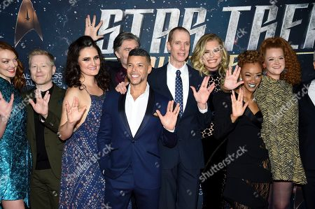 """Emily Coutts, Anthony Rapp, Mary Chieffo, Anson Mount, Wilson Cruz, Doug Jones, Rebecca Romijn, Sonequa Martin-Green, Mary Wiseman. The cast of """"Star Trek: Discovery"""", from left, Emily Coutts, Anthony Rapp, Mary Chieffo, Anson Mount, Wilson Cruz, Doug Jones, Rebecca Romijn, Sonequa Martin-Green and Mary Wiseman pose together at the season two premiere at the Conrad New York, in New York"""