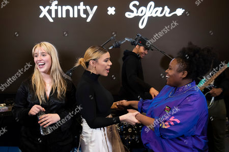 """Dinah Jane, Sydney Franklin, Cynthia Johnson. Multi-platinum selling artist Dinah Jane congratulates DC-based artists CJ of Oh He Dead and Sydney Franklin at Xfinity's """"Future of Awesome Tour"""". The tour is designed to connect emerging local artists, fans and the music they love in collaboration with Sofar Sounds and, in Washington"""