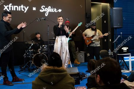 """Dinah Jane, Sydney Franklin. Multi-platinum selling artist Dinah Jane introduces DC-based Sydney Franklin at Xfinity's """"Future of Awesome Tour"""". The tour is designed to connect emerging local artists, fans and the music they love in collaboration with Sofar Sounds and, in Washington"""