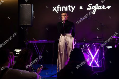 """Multi-platinum selling artist Dinah Jane introduces performers at Xfinity's """"Future of Awesome Tour"""". The tour is designed to connect emerging local artists, fans and the music they love in collaboration with Sofar Sounds and Dinah Jane as the curator, in Washington"""