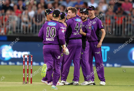James Faulkner of the Hurricanes celebrates taking the wicket of Cameron Bancroft of the Scorchers