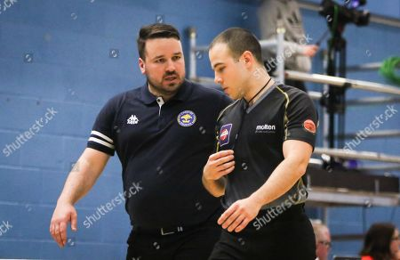 Stock Photo of Ben Thomas, Coach of Cheshire Phoenix argues a call with the official