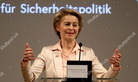 German Defense Minister Ursula von der Leyen delivers a speech during a meeting with Austrian Defense Minister Mario Kunasek and Swiss Defense Minister Viola Amherd in Vienna, Austria