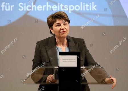 Swiss Defense Minister Viola Amherd delivers a speech during a meeting with Austrian Defense Minister Mario Kunasek and German Defense Minister Ursula von der Leyen in Vienna, Austria