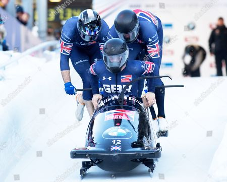 Brad Hall, Alan Toward, Nick Gleeson, Ben Simons (GBR) in action in the BMW IBSF 4-Man Bobsleigh, Igls, Austria (finishing in 14th position