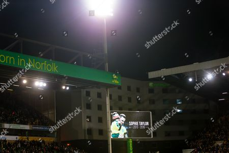 18th November 2019, Carrow Road, Norfolk, England; Sky Bet Championship, Norwich City vs Birmingham City ; A tribute is paid to young mascot Sophie Taylor who recently lost her battle against cancer