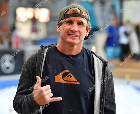 Stock Photo of Surf legend Robby Naish is pictured at the International Boat Show, known as Boot, in Duesseldorf, Germany, . The world's biggest fair for watersports shows for one week the latest trends from luxury yachts to surfing at the Duesseldorf fair