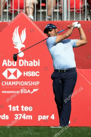 Pablo Larrazabal of Spain tees off from the 1st tee during the first round of the Abu Dhabi HSBC Golf Championship in Abu Dhabi, United Arab Emirates, 18 January 2019.