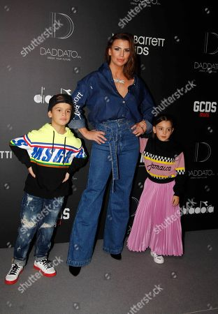 Stock Picture of Claudia Galanti and her sons Tal and Liam Mimran