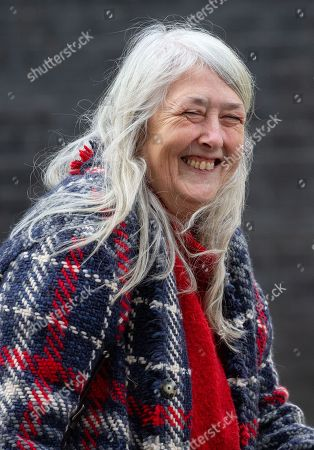 Stock Photo of Dame Winifred Mary Beard, Classicist and Scholar, leaves Number 10 Downing Street.