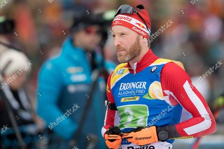 Simon Eder of Austria  during the zeroing prior the men's 4x7,5 km relay race at the IBU Biathlon World Cup in Ruhpolding, Germany, 18 January 2019.