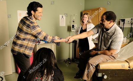 Miles Gaston Villanueva as Dr. Alec Shaw and Emily VanCamp as Nicolette Nevin and Floyd Martin