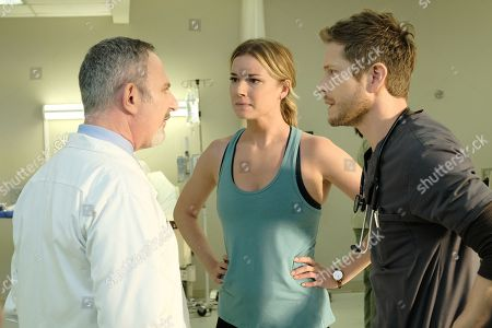 Andy Milder as Dr. Stefan Kisic, Emily VanCamp as Nicolette Nevin and Matt Czuchry as Conrad Hawkins