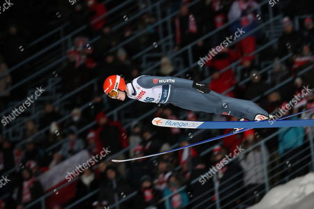 David Siegel of Germany in action during the qualification round of the team competition for the FIS Ski Jumping World Cup in Zakopane, Poland, 18 January 2019.