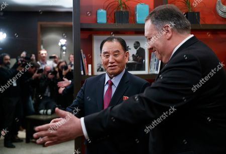 Mike Pompeo, Kim Yong Chol. Secretary of State Mike Pompeo, right, and Kim Yong Chol, a North Korean senior ruling party official and former intelligence chief, walk from a photo opportunity at the The Dupont Circle Hotel in Washington, . The media is reflected in the mirror behind