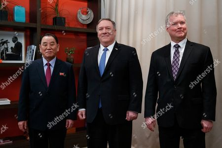 Mike Pompeo, Stephen Biegun, Kim Yong Chol. From left, Kim Yong Chol, a North Korean senior ruling party official and former intelligence chief, Secretary of State Mike Pompeo, and U.S. Special Representative for North Korea Stephen Biegun, pose for photographs at the The Dupont Circle Hotel in Washington