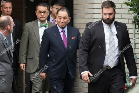 North Korea's Vice-Chairman of the Central Committee of the Workers' Party of Korea for South Korean affairs, Kim Yong Chol (C), departs a hotel after participating in a meeting there with US Secretary of State Mike Pompeo (unseen), in Washington, DC, USA, 18 January 2019. One of North Korea's top negotiators, Kim Yong Chol visits Washington carrying a letter from Kim Jong-un for US President Donald J. Trump, according to South Korean media reports. Speculation regarding a possible second summit between the two nations is that it could be held in Vietnam.