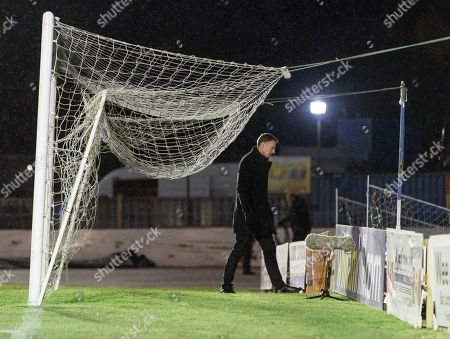 TV pundit Chris Sutton at Central Park shortly after Cowdenbeath's William Hill Scottish Cup 4th Round tie against Rangers. The match was postponed due to a frozen pitch.