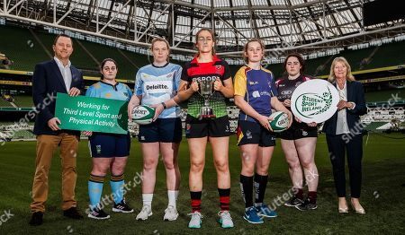 Pictured at today's launch is (L-R) IRFU Student and Age grade manager, Eoin Hogan, Sarah Glynn, UCD, Ciara McDonnell, DCU, Meaghan Kenny, IT Carlow, Enya Breen, UL, Ellie Dillane, NUIG and Chairperson of SSI Carmel Lynch