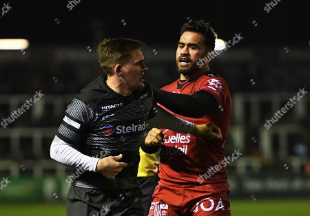 Stock Image of Liam Messam of RC Toulon clashes with Toby Flood of Newcastle Falcons