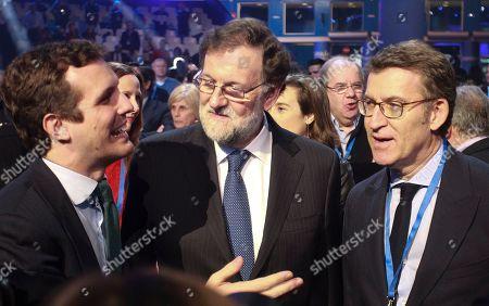 PP Party President Pablo Casado (L); Former Spanish Prime Minister Mariano Rajoy (C); Galicia President Alberto Nunez Feijoo