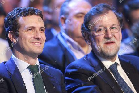 PP Party President Pablo Casado (L); Former Spanish Prime Minister Mariano Rajoy