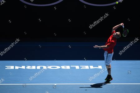 Patrick Mcenroe of the USA in action with John Mcenroe (not pictured) of the USA against Jonas Bjorkman and Thomas Johansson of Sweden during their second round men's legends doubles match at the Australian Open Grand Slam tennis tournament in Melbourne, Australia, 19 January 2019.