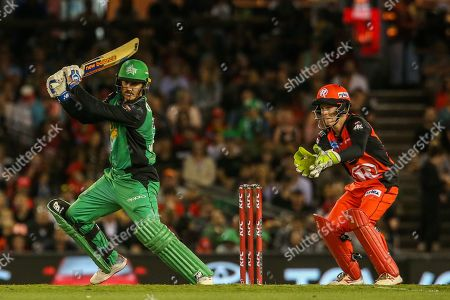 Nic Maddinson of Melbourne Stars plays an attacking stroke during the Big Bash League match between Melbourne Renegades and Melbourne Stars at the Marvel Stadium, Melbourne. Picture by Martin Keep