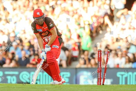 Stock Photo of Cameron White of Melbourne Renegades is bowled by Liam Plunkett of Melbourne Stars during the Big Bash League match between Melbourne Renegades and Melbourne Stars at the Marvel Stadium, Melbourne. Picture by Martin Keep
