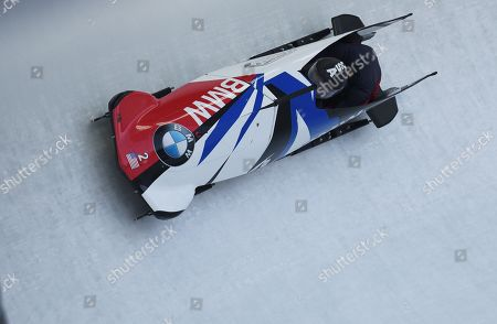 Elana Meyers Taylor and Sylvia Hoffmann of the USA in action during the women's two-women Bobsleigh World Cup competition in Innsbruck, Austria, 19 January 2019.