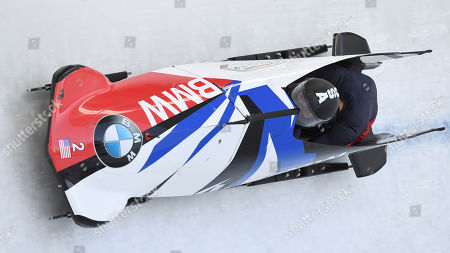 United States's Elana Meyers Taylor and Sylvia Hoffmann speeds down the track during the first run of the women's two-man bobsled World Cup race in Igls, near Innsbruck, Austria
