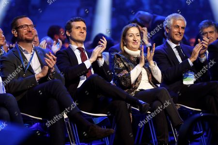 (L-R) Spanish main opposition People's Party Organization Deputy Secretary Javier Maroto, President Pablo Casado, Spanish Lower Chamber Speaker Ana Pastor and Concord and Freedom Foundation President Adolfo Suarez Illana, son of late Spanish former Prime Minister Adolfo Suarez, applaud during the second day of the national convention of the party at IFEMA Convention and Congress Center in Madrid, Spain, 19 January 2019. The three-day congress, running until 20 January, was organized to look for an 'ideological rearmament'.