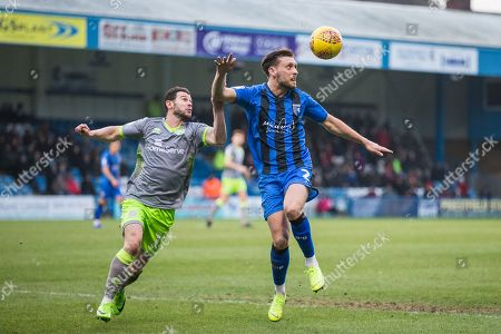Stock Picture of Matt Jarvis (Walsall) & Luke O'Neill (Gillingham) during the EFL Sky Bet League 1 match between Gillingham and Walsall at the MEMS Priestfield Stadium, Gillingham