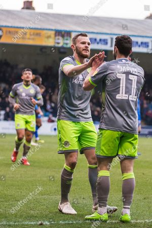Andy Cook (Walsall) congratulates Matt Jarvis (Walsall) goal 0-2 during the EFL Sky Bet League 1 match between Gillingham and Walsall at the MEMS Priestfield Stadium, Gillingham