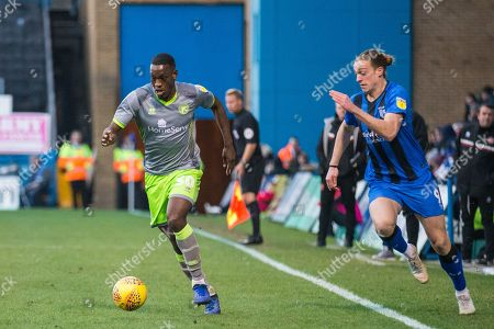 Isaiah Osbourne (Walsall) & Tom Eaves (Gillingham) during the EFL Sky Bet League 1 match between Gillingham and Walsall at the MEMS Priestfield Stadium, Gillingham