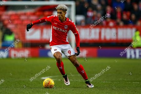 Charlton Athletic forward Lyle Taylor (9) on the ball during the EFL Sky Bet League 1 match between Charlton Athletic and Accrington Stanley at The Valley, London