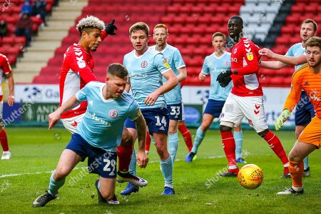 Charlton Athletic forward Lyle Taylor (9) shoots towards the goal during the EFL Sky Bet League 1 match between Charlton Athletic and Accrington Stanley at The Valley, London