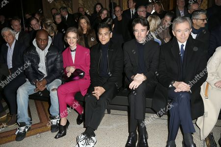 Virgil Abloh, Natalia Vodianova, Eddie Peng, Antoine Arnault and Bernard Arnault in the front row