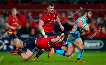 Munster vs Exeter Chiefs. Munster's Joey Carbery with Santiago Cordero of Exeter Chiefs